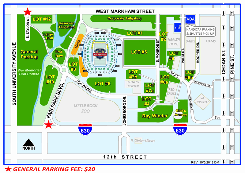 Parking Map for Razorbacks vs Ole Miss